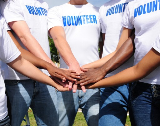 A volunteer huddle